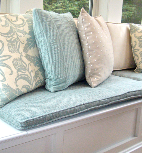 Custom cushions for cottage project… CynthiaWeber.com