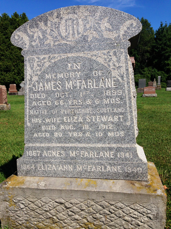 The Grave Stone of James McFarlane the origional owner of our home BannockBurn in 1878… CynthiaWeber.com