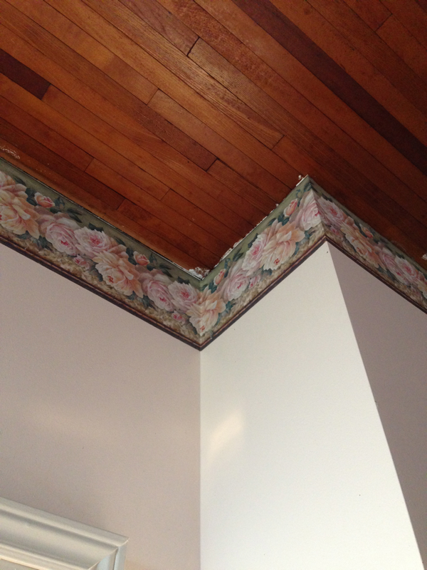 The wallpaper border in the kitchen at BannockBurn… cynthiaweber.com