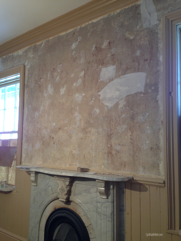 removing wallpaper in the parlour of The Little Inn Bayfield CynthiaWeber.com