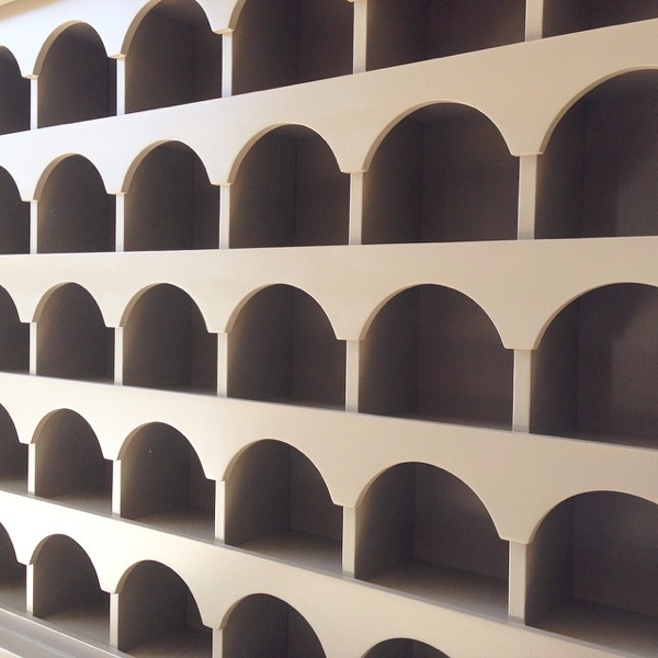Custom Pigeon Holes for the reception desk… cynthiaweber.com