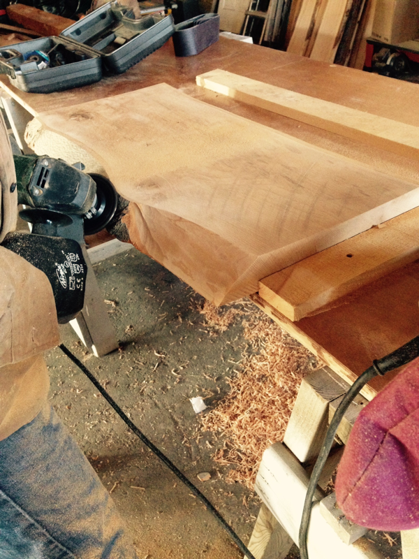 Kent working on live edge pieces in the barn… cynthiaweber.com