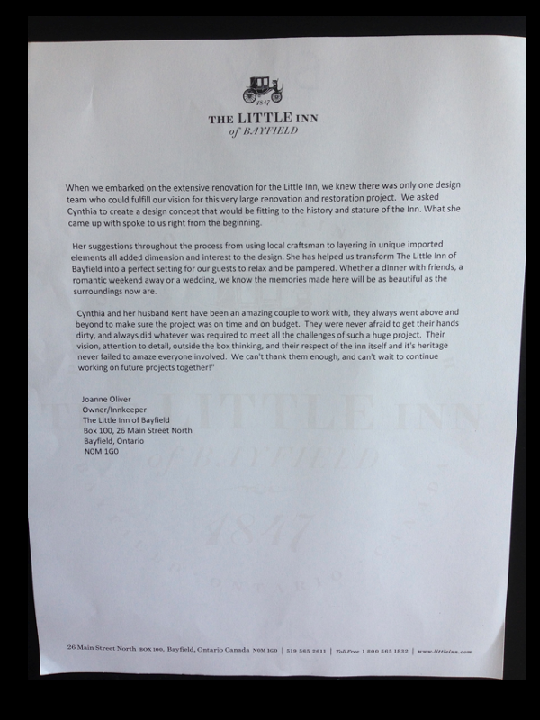 Letter of reference from The Little Inn of Bayfield to Cynthia Weber Design