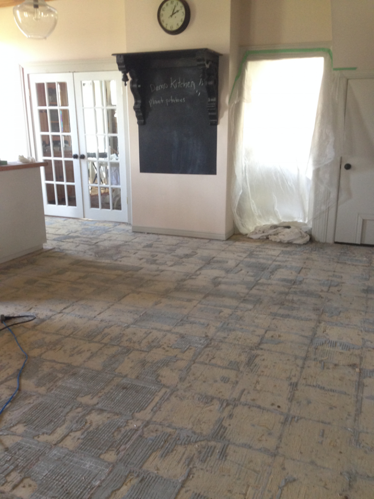 Old tile is out!! Kitchen reno at Bannockburn 1878… cynthiaweber.com