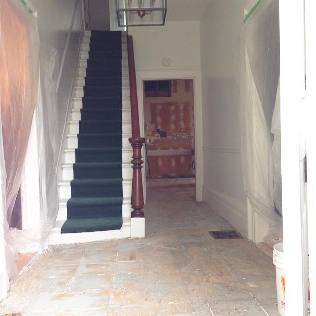 Tile off in the kitchenand foyer at BannockBurn 1878… CynthiaWeber.com