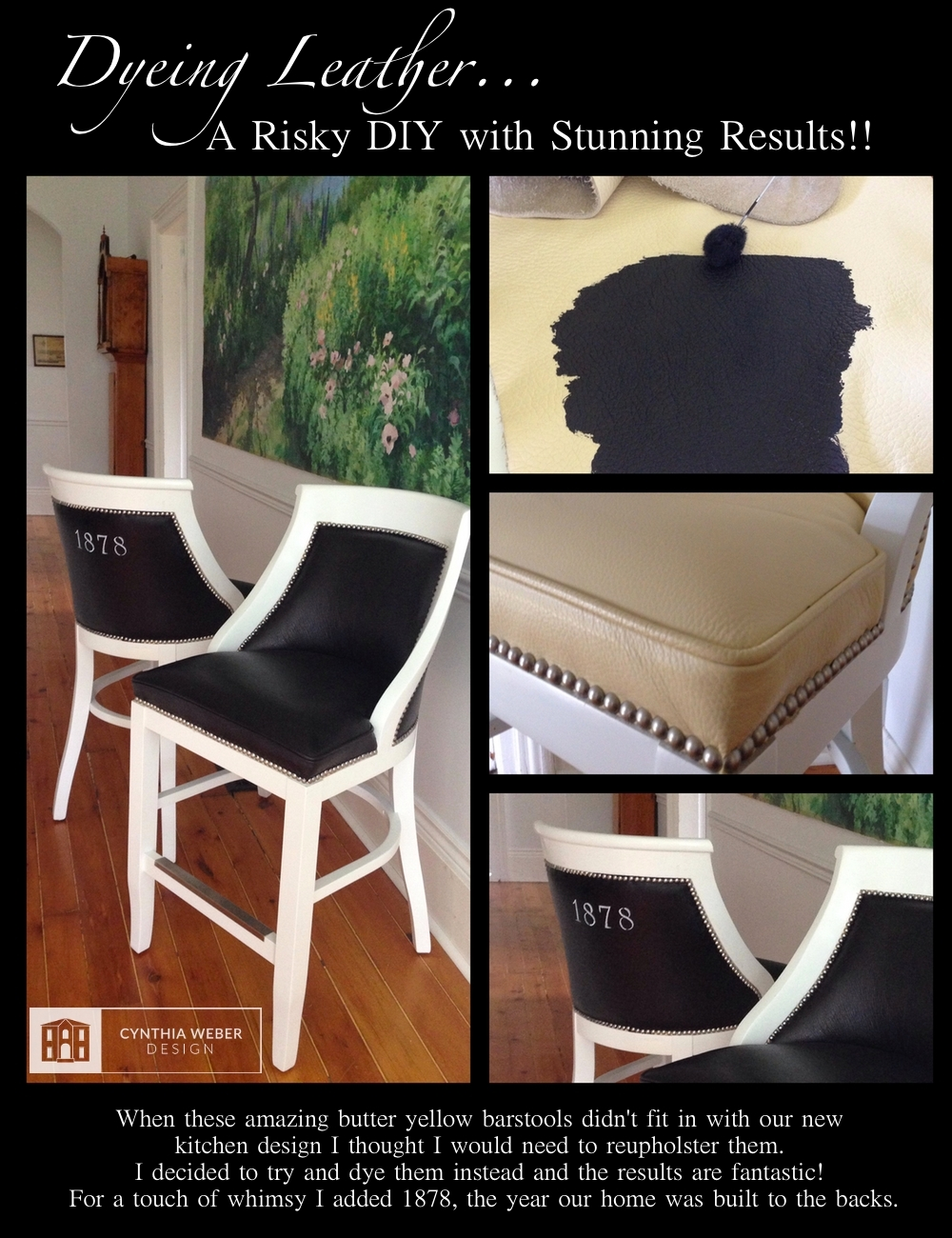 Barstool makeover… Dyeing Leather CynthiaWeber.com