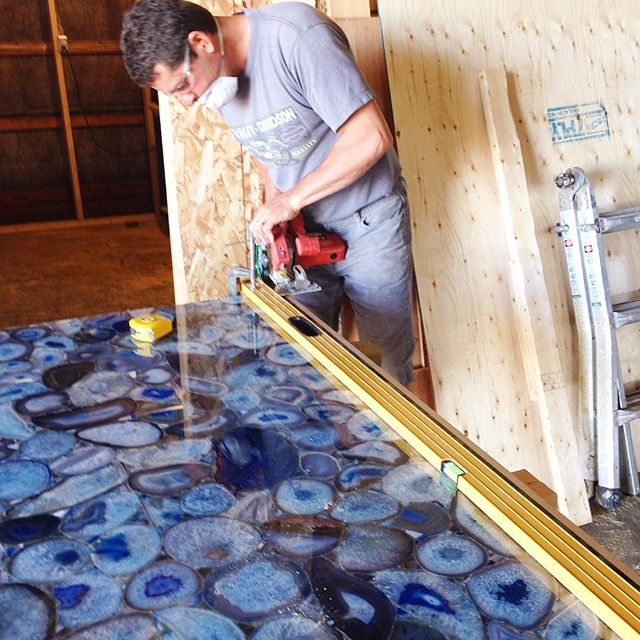 Cutting the Blue Agate slab for the island top.