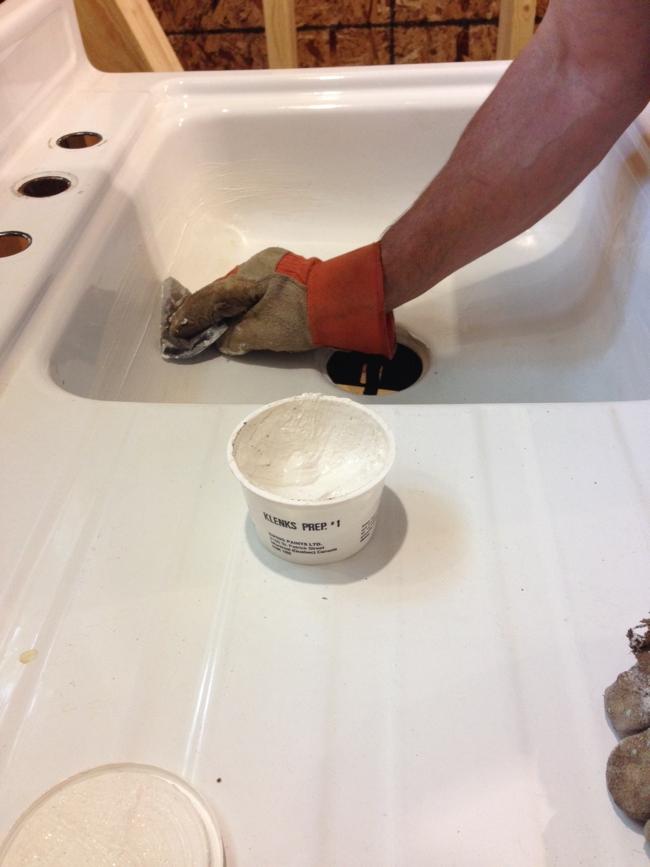 prepping sink for reglazing… cynthiaweber.com