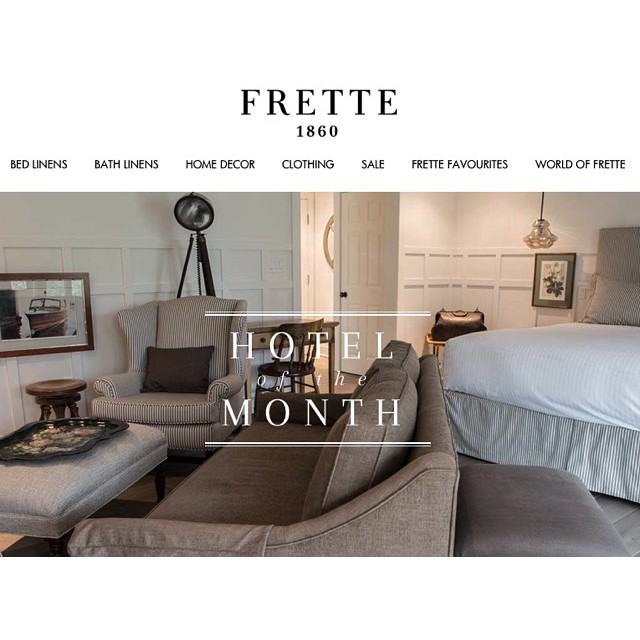 Cynthia Weber design project featured on the Frette Hotel of the month series.