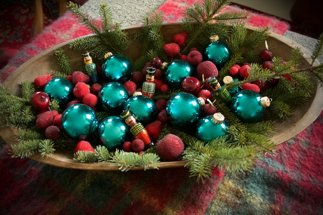 Antique bowl filled with Christmas decorations at BannockBurn 1878... CynthiaWeber.com