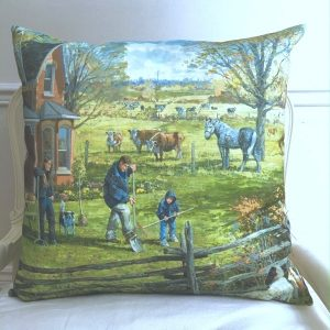 Young Farm Family Custom Pillow