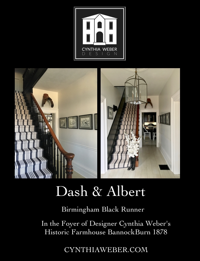 Dash and Albert Birmingham Black runners in the foyer of designer Cynthia Weber's historic farmhouse BannockBurn 1878