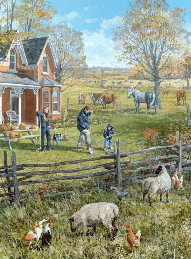 Young Farm Family by Canadian Artist Peter Etril Snyder
